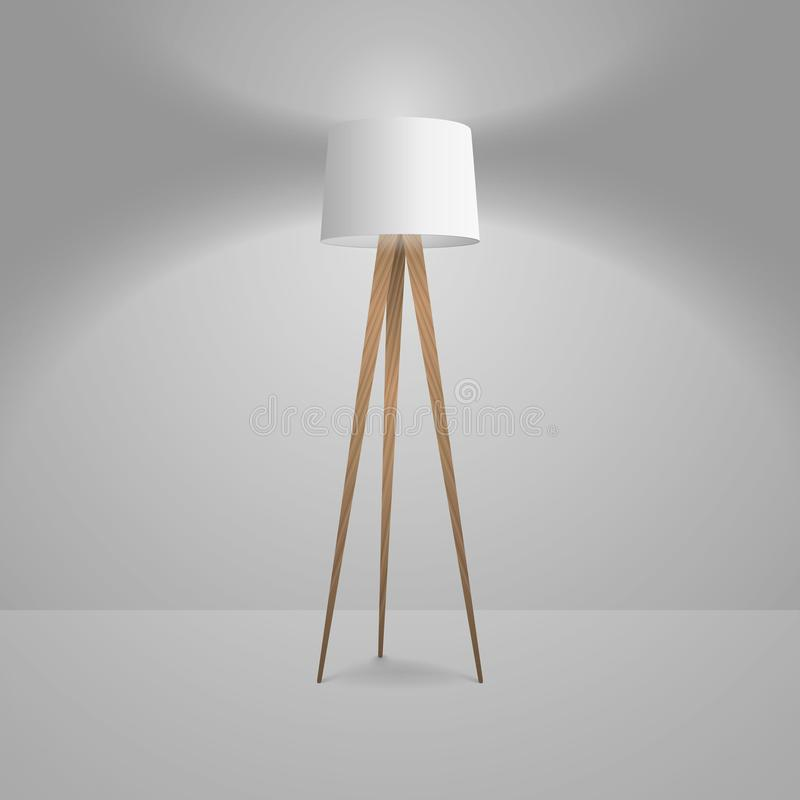Vector 3d Realistic Render Illuminated Lamp Closeup. Floor Lamp. Template of Electric Torchere for Interior Design. Energy Furniture. Home Equipment in Simple royalty free illustration
