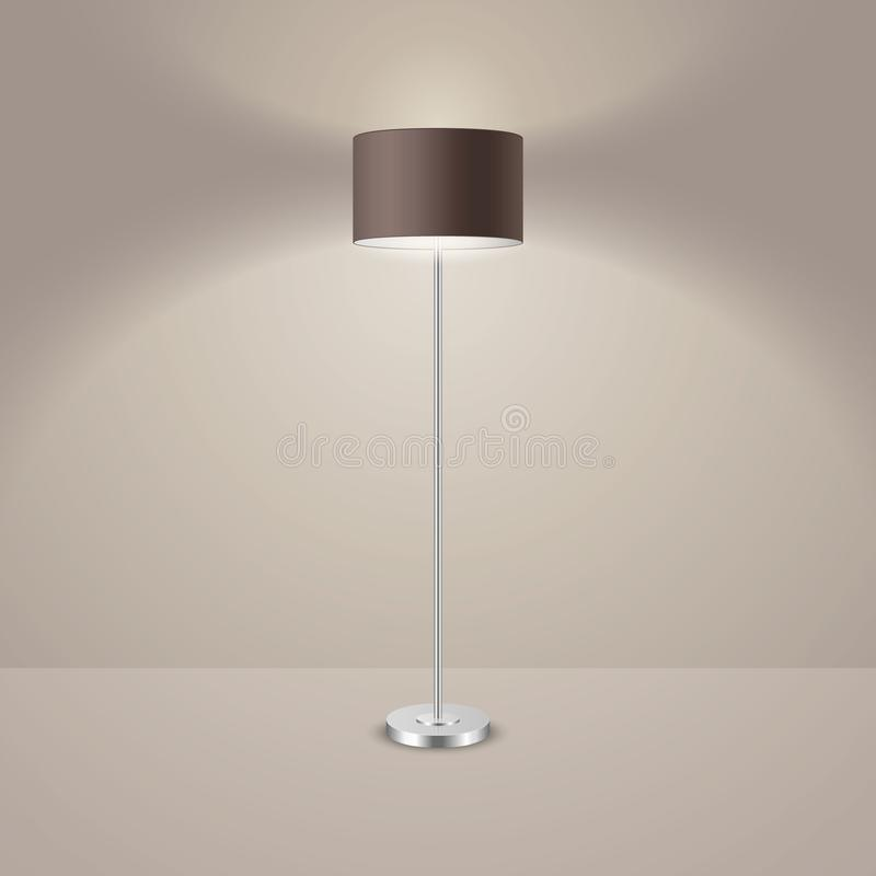 Vector 3d Realistic Render Illuminated Lamp Closeup. Floor Lamp. Template of Electric Torchere for Interior Design. Energy Furniture. Home Equipment in Simple vector illustration