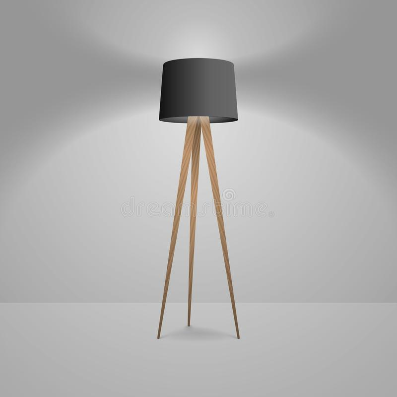 Vector 3d Realistic Render Illuminated Lamp Closeup. Floor Lamp. Template of Electric Torchere for Interior Design. Energy Furniture. Home Equipment in Simple stock illustration