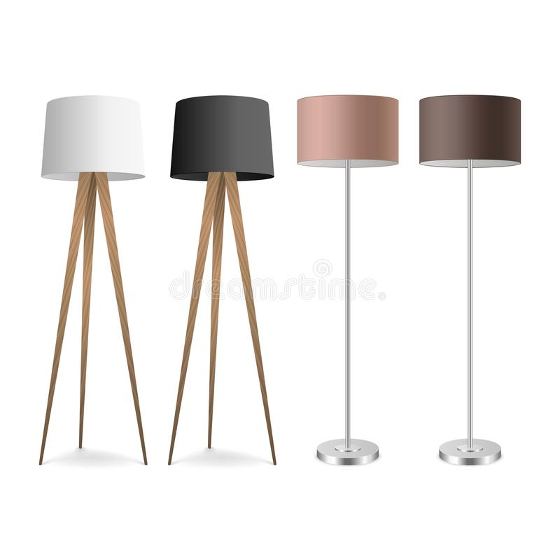 Vector 3d Realistic Render Lamp Set Closeup Isolated on White Background. Floor Lamps. Template of Electric Torchere for. Interior Design, Energy Furniture royalty free illustration