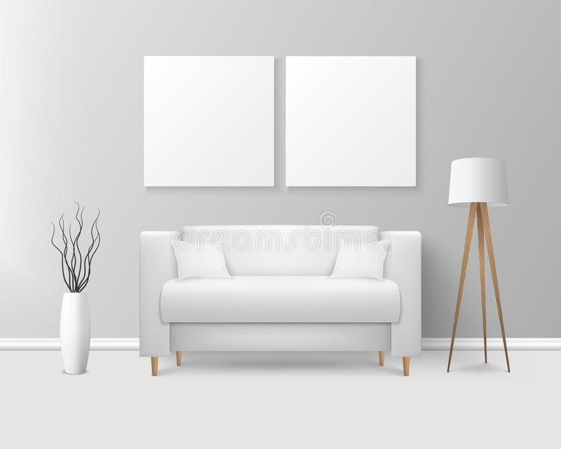 Vector 3d Realistic Render White Sofa, Couch with Pillows in Simple Style in Modern Room - Apartment, Salon, Art Gallery vector illustration