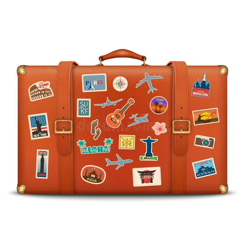Vector 3d Realistic Retro Leather Brown Threadbare Suitcase With Travel Stickers, Metal Corners and Belts Icon Closeup vector illustration