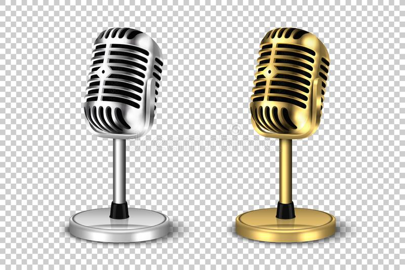 Vector 3d Realistic Retro Steel Metal Silver and Golden Concert Vocal Microphone with Stand Icon Set Closeup Isolated on royalty free illustration