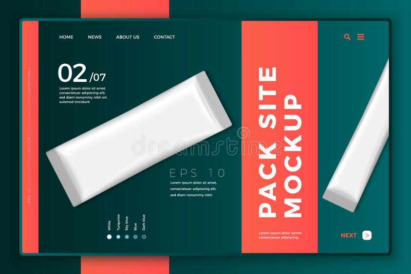 Vector 3d realistic sachet on modern site template. Vector 3d realistic sachet on bright modern site template with typographic background. Mock-up landing page stock illustration
