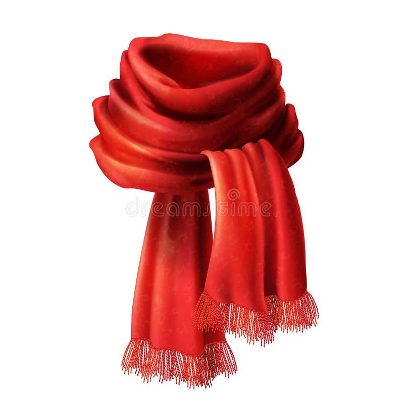 Vector 3d realistic silk, velvet red scarf. Vector 3d realistic silk red scarf. Knitted fabric cloth, alpaca wool for winter. Scarlet velvet textile, cashmere stock illustration