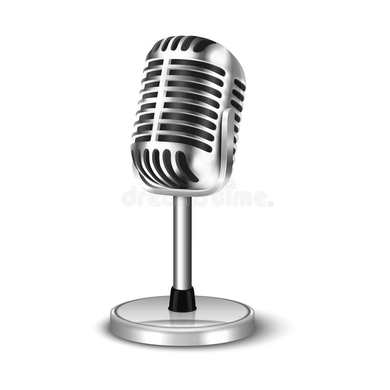 Vector 3d Realistic Steel Retro Concert Vocal Microphone with Stand Icon Closeup Isolated on White Background. Design stock illustration