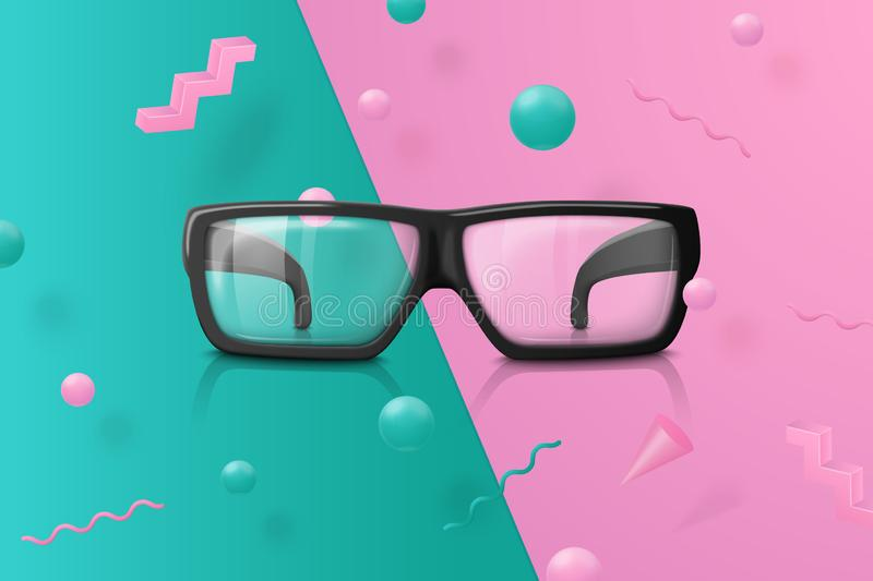 Vector transparent glasses on abstract scene vector illustration