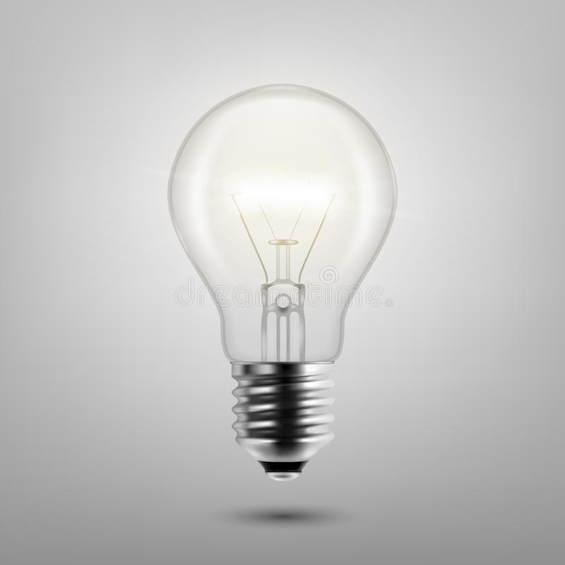 Vector 3d Realistic Turning On Light Bulb Icon Closeup Isolated on Gray Background. Design Template, Clipart. Glowing stock illustration