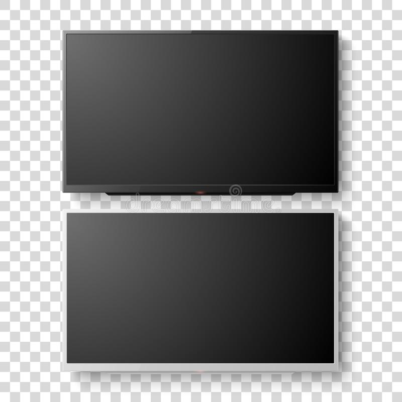 Vector 3d Realistic White and Black Blank TV Screen. Modern LCD LED Panel Set Closeup Isolated on Transparent Background. Design Template of Large Computer stock illustration