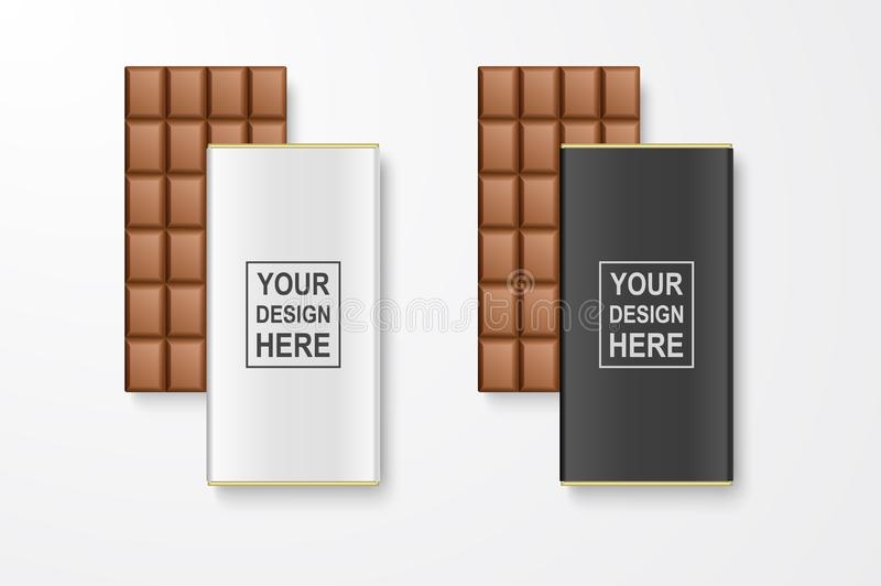 Vector 3d Realistic White and Black Blank Whole Chocolate Bar Package Set Closeup Isolated on White Background. Design vector illustration