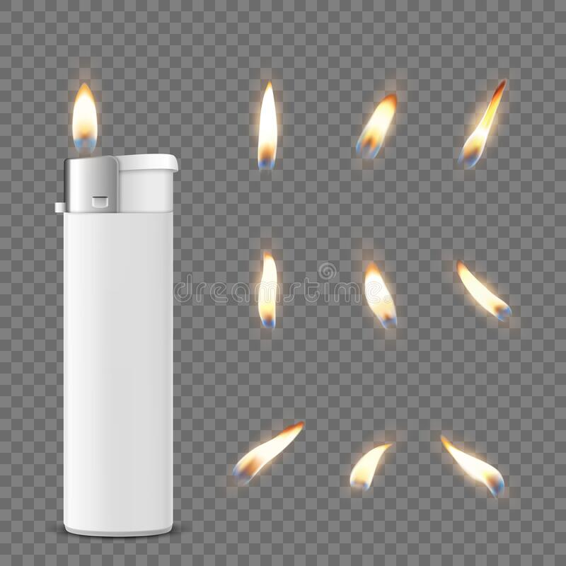 Vector 3d Realistic White Blank Cigarette Lighter Icon Closeup on Transparent Background with Flame Set Progettazione royalty illustrazione gratis