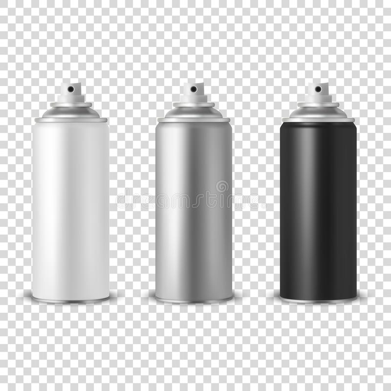Vector 3d Realistic White Blank Spray Can, bottle Icon Set Closeup Isolated on Transparent Background. Design Template stock illustration