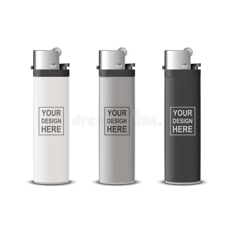 Vector 3d Realistic White, Grey, Black Blank Cigarette Lighter Icon Set Closeup Isolato su sfondo trasparente illustrazione vettoriale