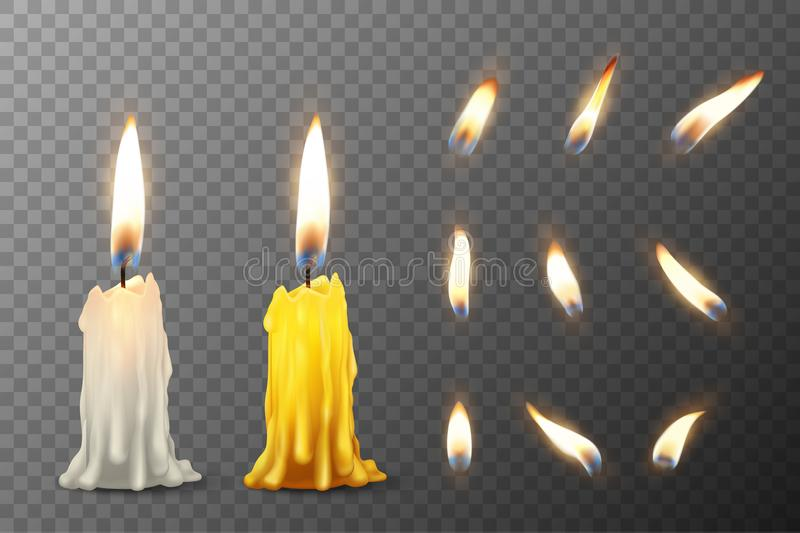 Vector 3d realistic white and orange paraffin or wax burning party candle or candle stump and different flame of a stock illustration