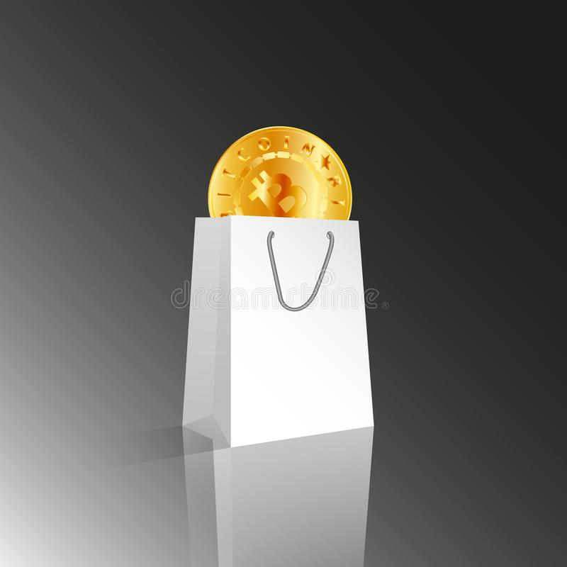 Vector 3D realistic white paper package or bag for shopping or gifts with golden bitcoin on light gray or black background. Crypto stock illustration
