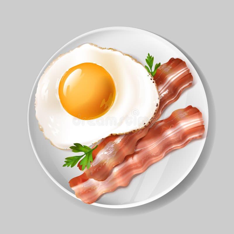 Vector 3d realistisch Engels ontbijt - bacon, ei royalty-vrije illustratie