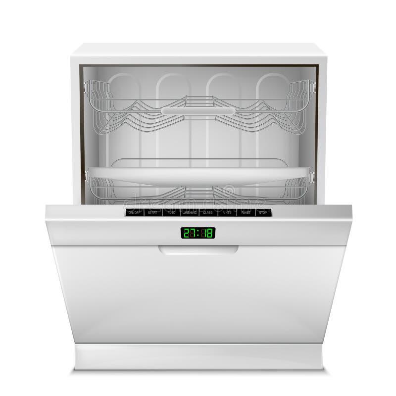 Vector 3d realistische open afwasmachinemachine stock illustratie