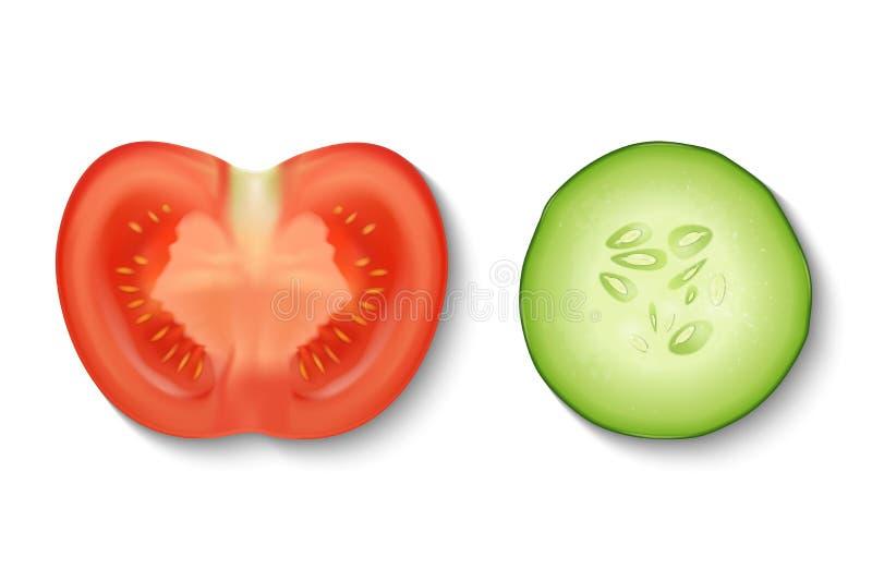 Vector 3d realistische plak sappige komkommer en tomaat in een vastgestelde die close-up van het besnoeiingspictogram op witte ac vector illustratie