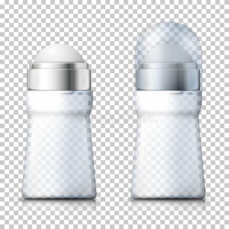 Vector 3d realistische transparante geurbestrijdende flessen royalty-vrije illustratie