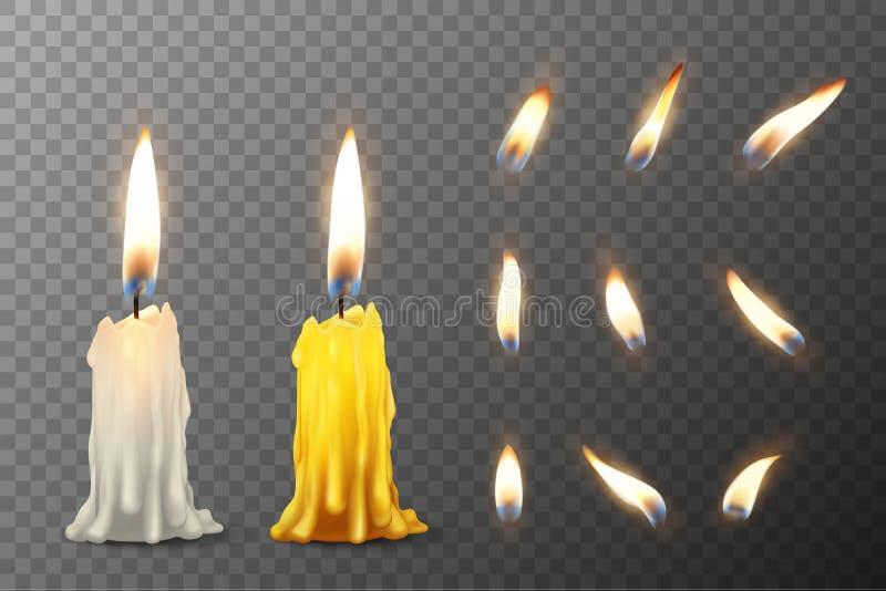 Vector 3d realistische witte en oranje paraffine of was brandende partijkaars of kaarsstomp en verschillende vlam van a stock illustratie