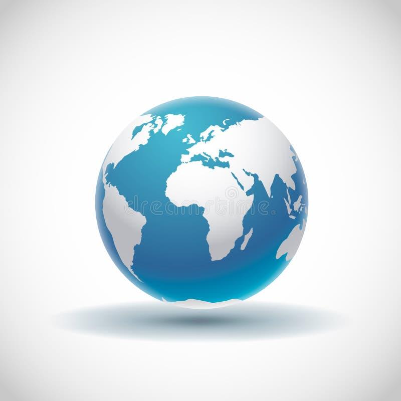 Vector 3d - realistisk globe-ikon med jämna skuggor och vit karta över världsdelarna arkivfoton