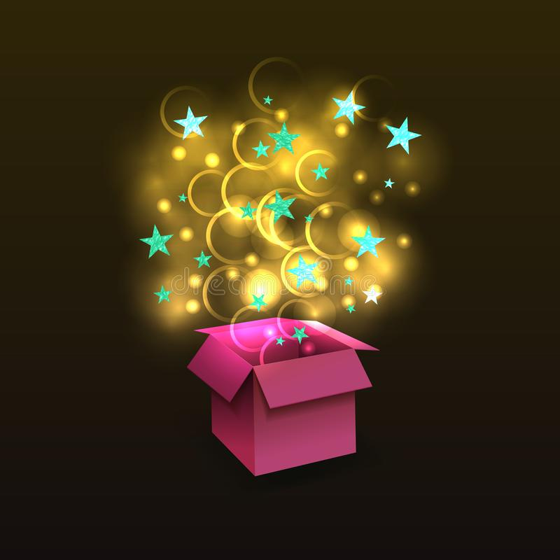 Vector 3D Surprise Box with Shining Golden Magic and Light Blue Textured Stars, Isolated. stock illustration