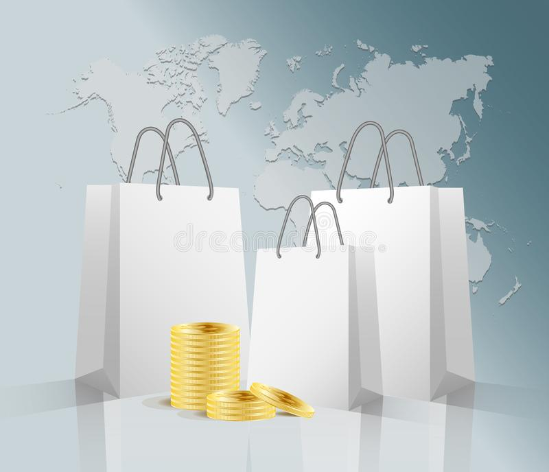 Vector 3D three realistic white paper package or bag for shopping or gifts and stack of golden bitcoins on sky blue stock illustration
