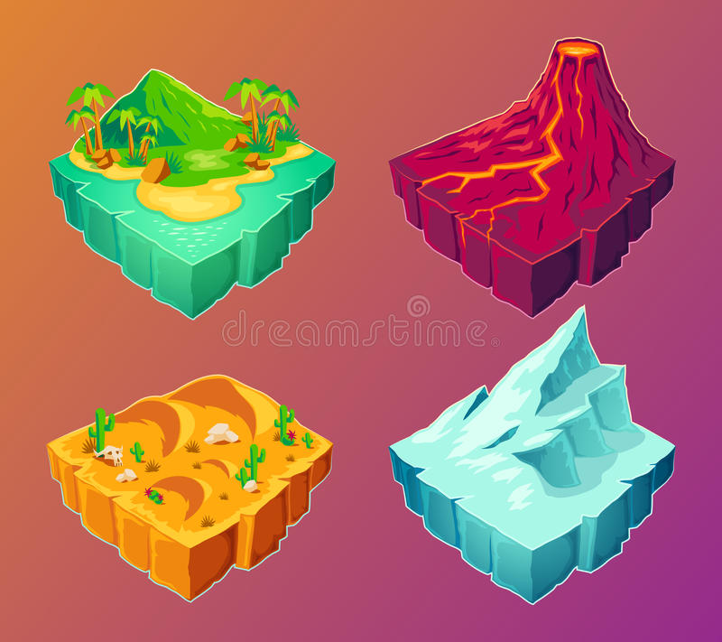 Vector 3D tropical island, volcanic island, desert, ice island, design elements for games stock illustration
