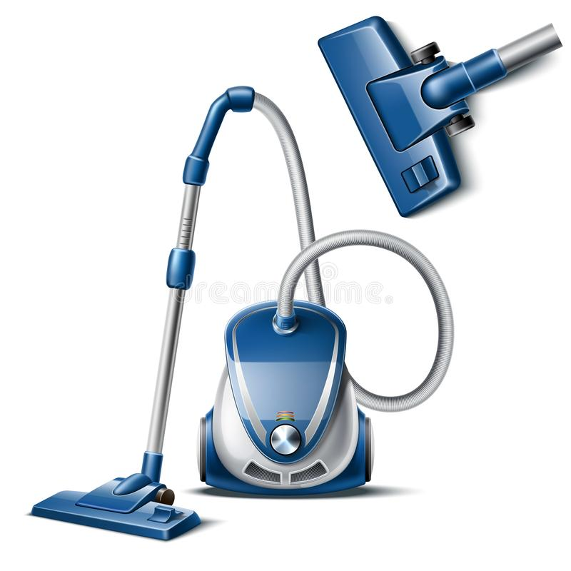 Vector 3d vacuum cleaner with hose and nozzle vector illustration