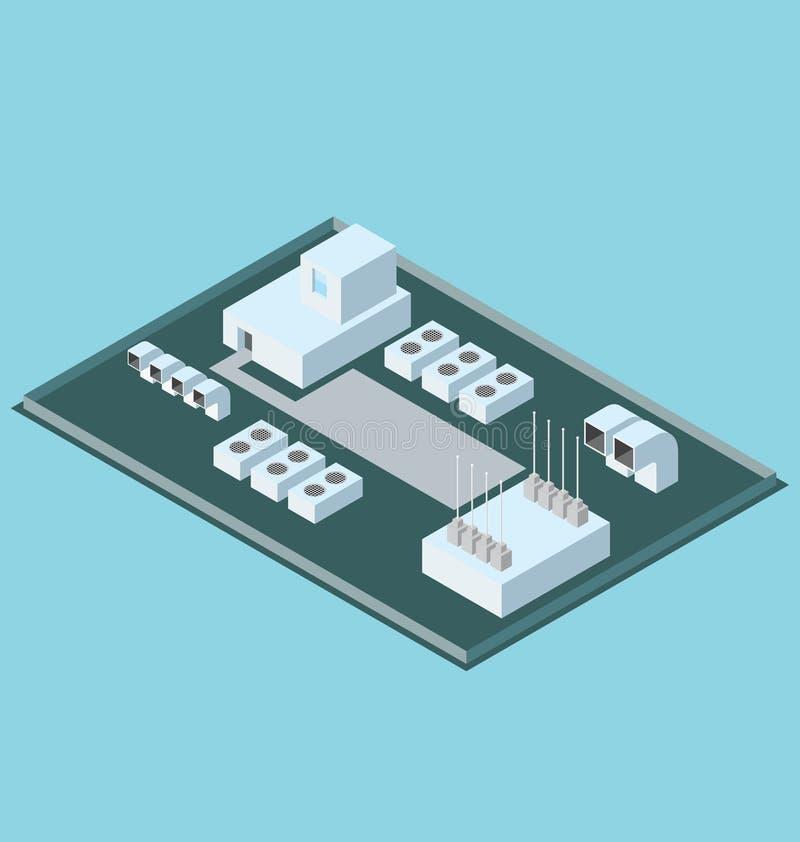 Vector 3d Vlak Isometrisch Dak met Veredelingsmiddelen stock illustratie