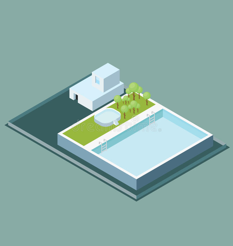 Vector 3d Vlak Isometrisch Dak met Waterpool stock illustratie