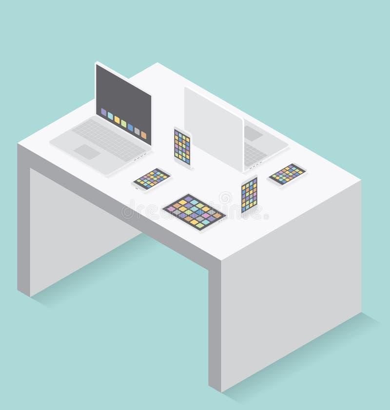 Vector 3d Vlak Isometrisch Gadgetconcept royalty-vrije illustratie