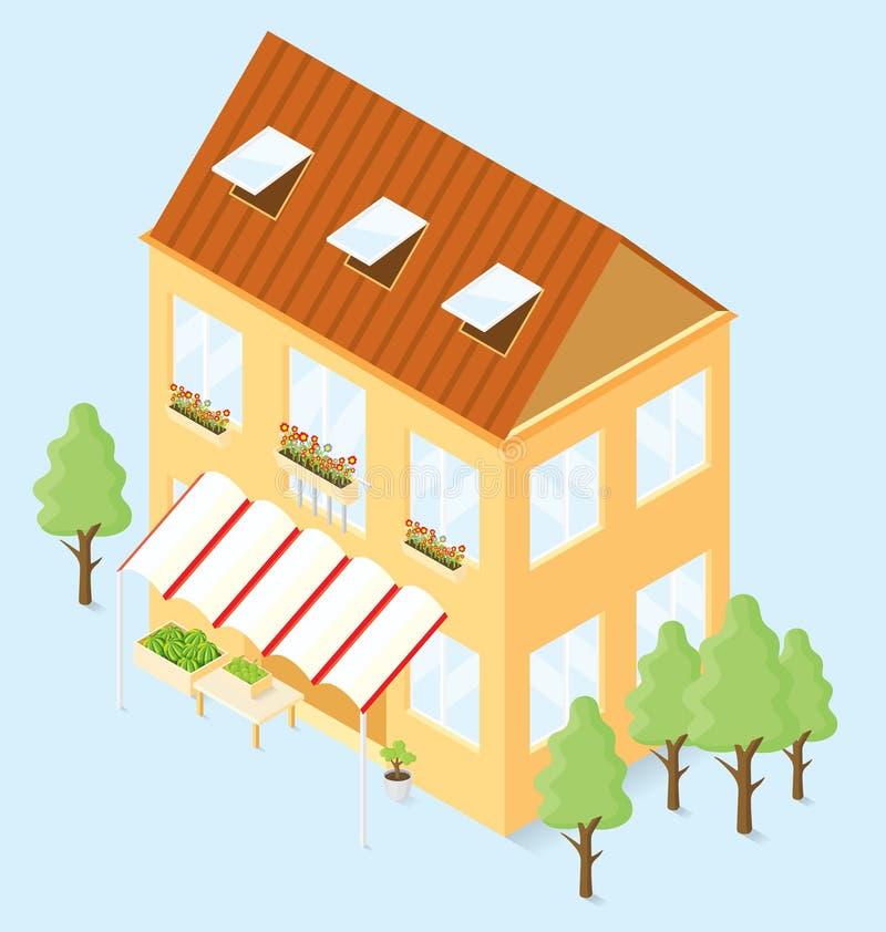 Vector 3d Vlak Isometrisch Huis vector illustratie