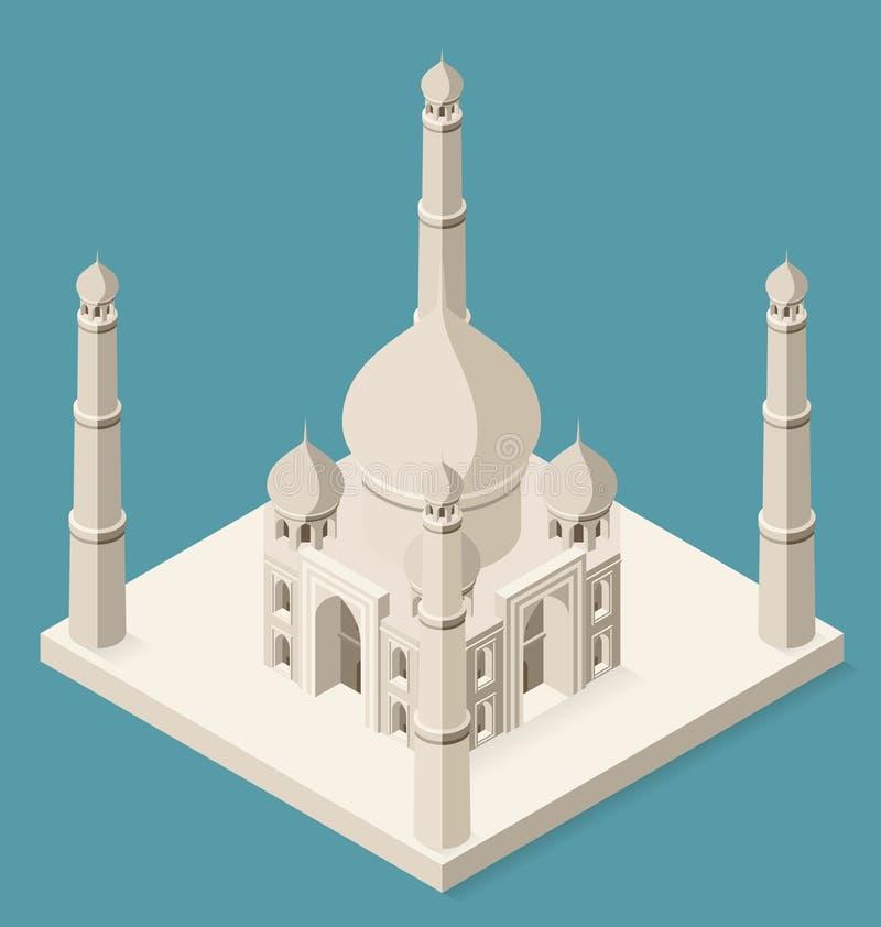 Vector 3d Vlak Isometrisch Taj Mahal stock illustratie