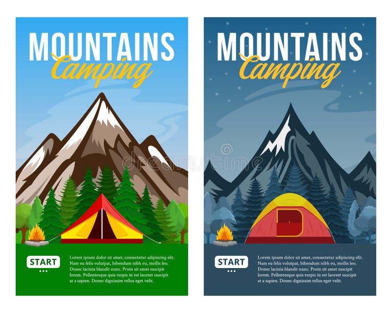 Vector dag en nacht bergen het kamperen verticale banners vector illustratie