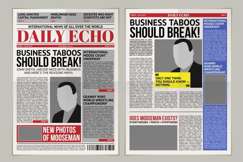 Vector dagelijks krantenmalplaatje, tabloid, lay-out het posten rapportage vector illustratie