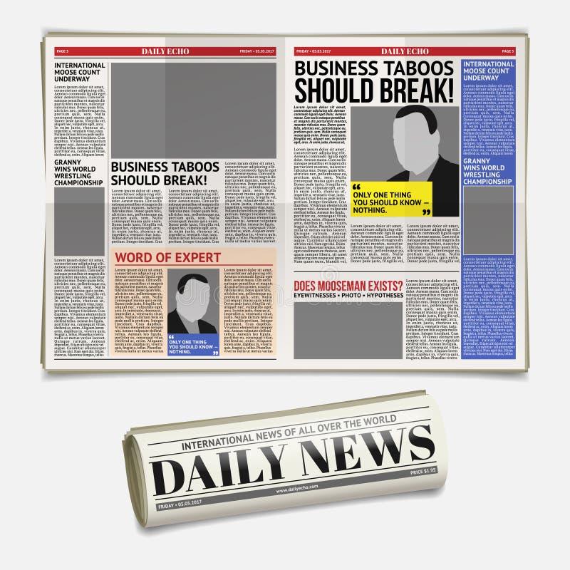 Vector dagelijks krantenmalplaatje, tabloid, lay-out het posten rapportage royalty-vrije illustratie
