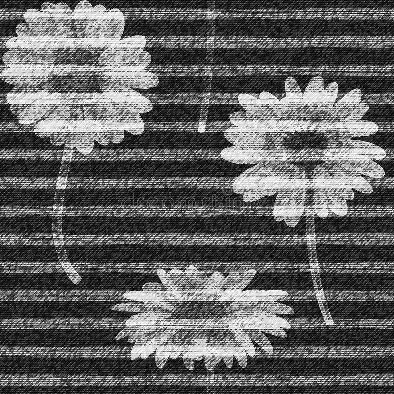 Vector Daisies striped. seamless pattern. Denim floral wallpaper. Gray jeans background with flowers. royalty free illustration