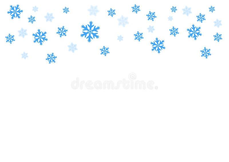 Vector dalende blauwe sneeuw op geïsoleerde achtergrond, mogelijkheid van bekleding De winter, Kerstmistextuur Plaats voor tekst stock illustratie