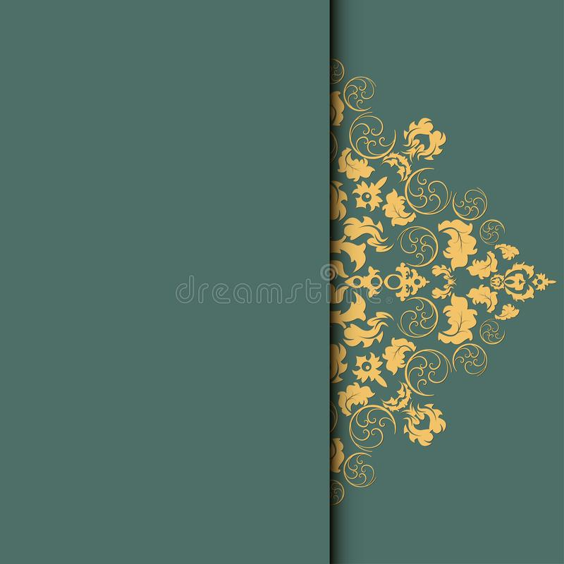 Vector damask frame. Easy to scale and edit. Pattern is included as seamless swatch royalty free illustration
