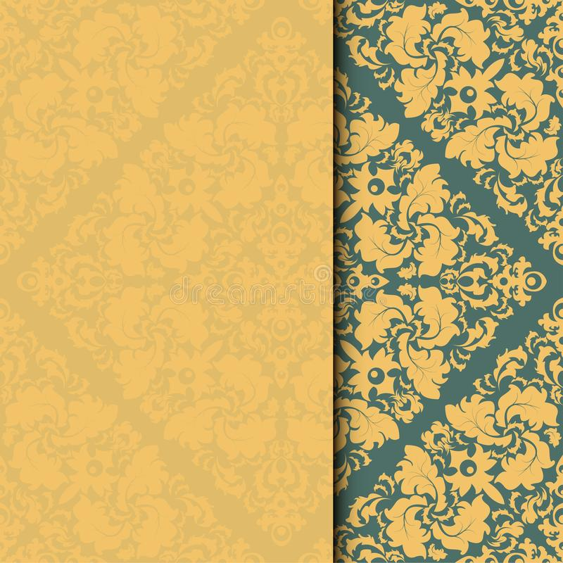Vector damask frame. Easy to scale and edit. Pattern is included as seamless swatch vector illustration