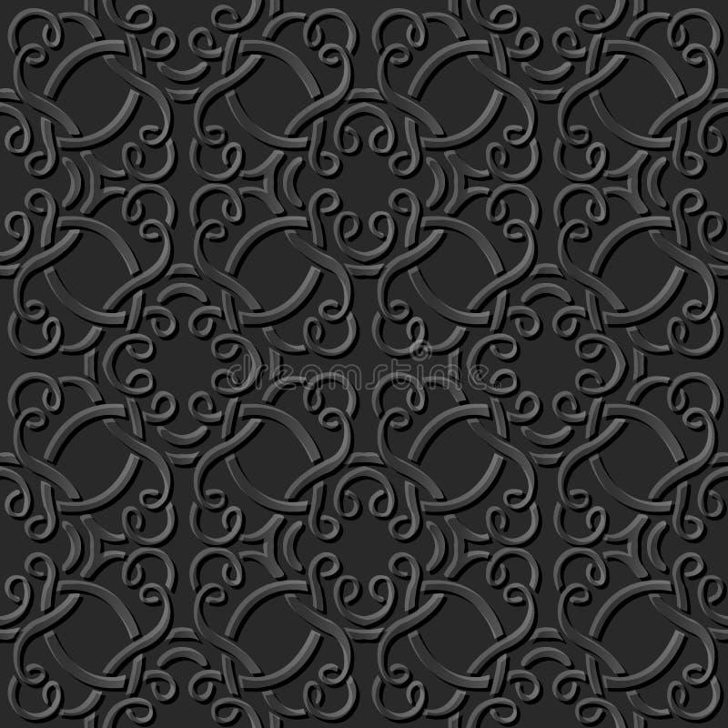 Free Vector Damask Seamless 3DASeamless 3D Dark Paper Cut Art Background 391 Curve Spiral Cross Frame Line Element Pattern 001 Stock Photography - 71600722