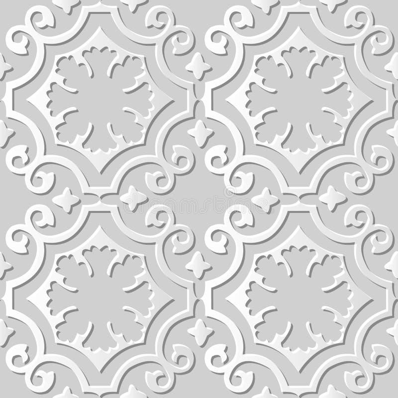 Vector damask seamless 3D paper art pattern background 006 Curve Spiral Cross royalty free illustration