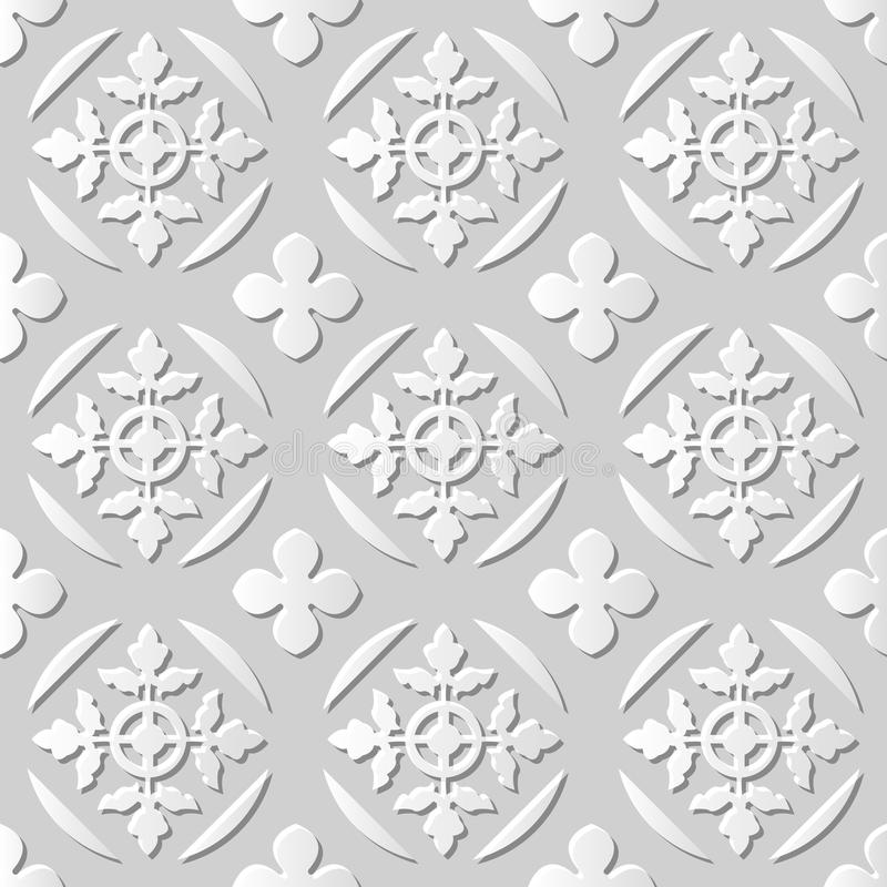 Vector damask seamless 3D paper art pattern background 009 Round Cross Leaf royalty free illustration