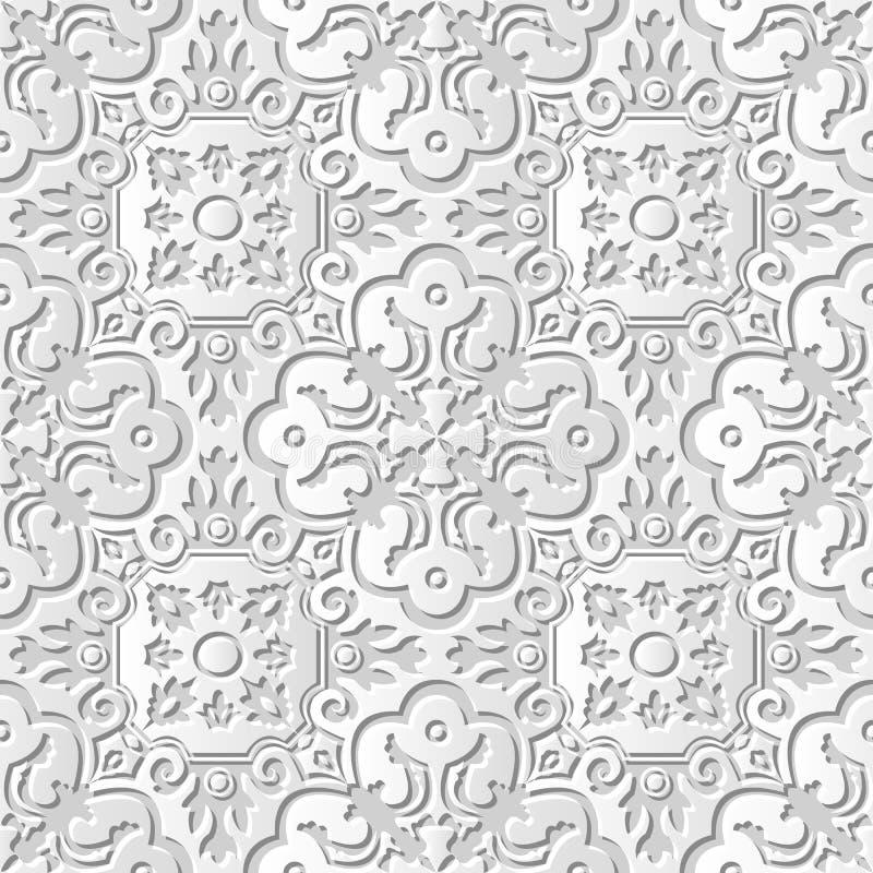 Vector damask seamless 3D paper art pattern background 218 Spiral Curve Kaleidoscope vector illustration