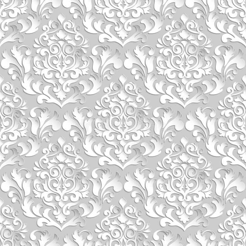 Vector damask seamless pattern background. Elegant luxury texture for wallpapers, backgrounds and page fill. stock illustration