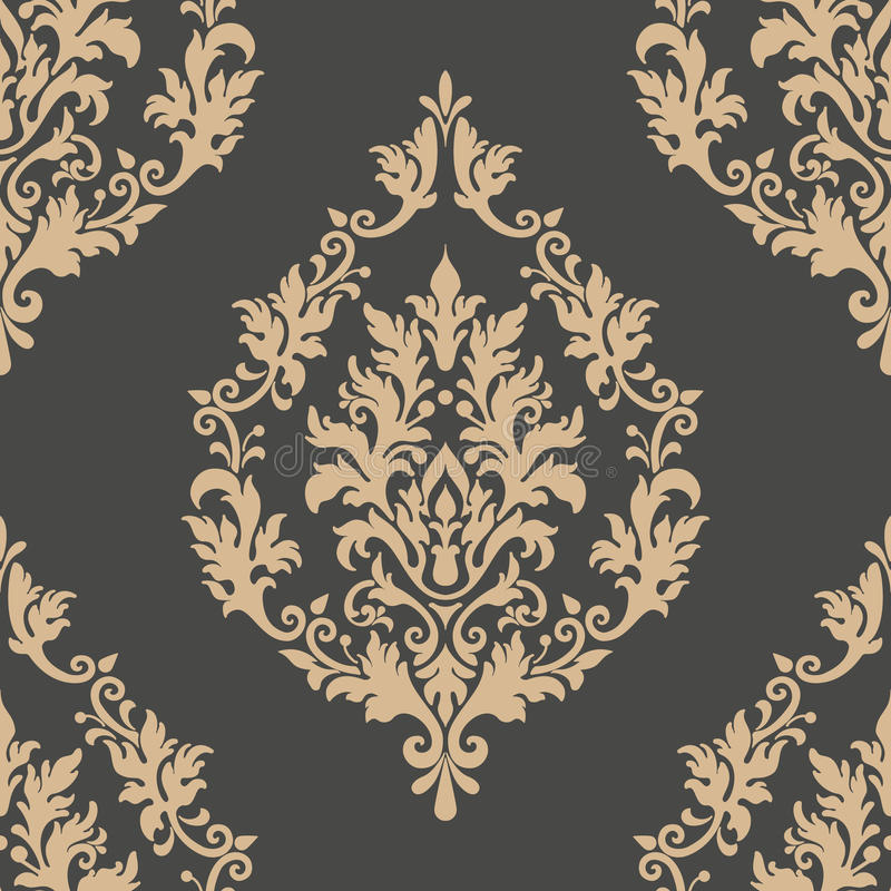 Vector damask seamless pattern element. Classical luxury old fashioned damask ornament, royal victorian seamless texture royalty free illustration