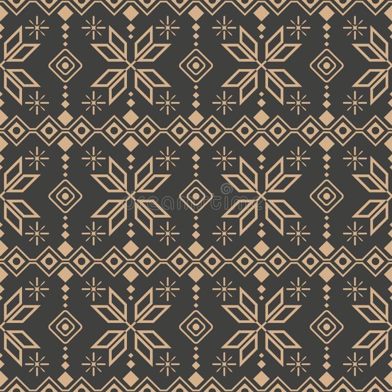 Vector damask seamless retro pattern background check polygon geometry cross star frame line flower. Elegant luxury brown tone vector illustration