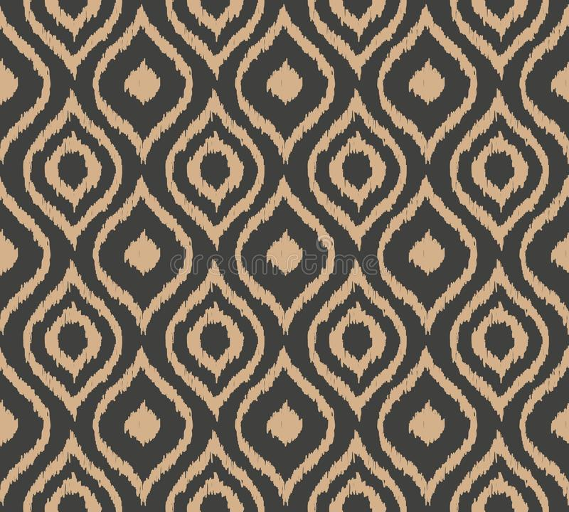 Vector damask seamless retro pattern background curve cross aboriginal geometry frame. Elegant luxury brown tone design for. Wallpapers, backdrops and page fill vector illustration