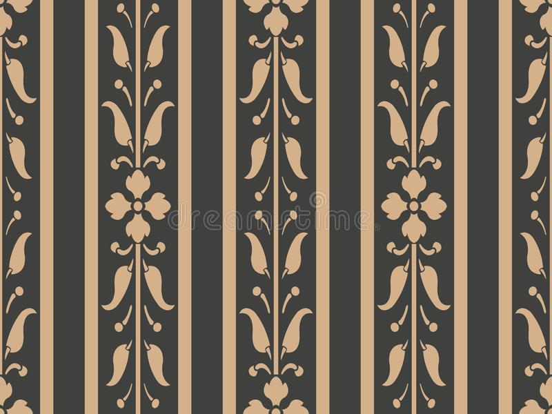 Vector damask seamless retro pattern background curve cross leaf flower vine border frame line. Elegant luxury brown tone design royalty free illustration